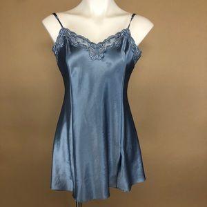 Victorias Secret Vintage Silky Blue Lace Slip M